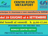 San Rufo: dal 29 giugno ripartono i Centri Estivi alla Metasport in tutta sicurezza