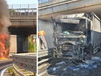 Camion a fuoco lungo il Raccordo autostradale ad Eboli