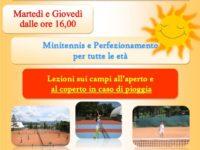 Dal 2 settembre si riparte con i corsi di tennis alla Metasport di San Rufo