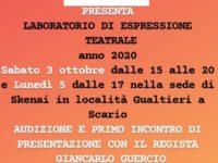 Dal 5 ottobre l'Associazione Skenai riparte a Scario con un Laboratorio Teatrale dedicato a Luigi Pirandello