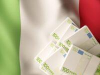 Euro banknote bundles on textile textured Italy flag. 3d rendered illustration.