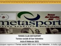 La Metasport di San Rufo organizza Torneo di Tennis Sociale 2021 indoor di San Valentino