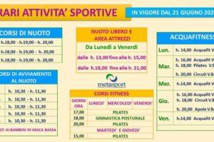 Dal 21 giugno ripartono i corsi di nuoto allaMetasportdi San Rufo
