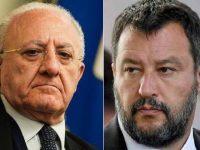 """Mascherine obbligatorie in Campania. Salvini attacca De Luca: """"Divieto assurdo, lo segnalerò a Draghi"""""""