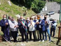 A Polla la cerimonia di inizio dei lavori di sistemazione del costone roccioso in località Grotte