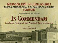 """Oggi la presentazione del volume """"In Commendam, la Badia Nullius di San Nicola di Bari a Controne"""""""