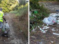 Rifiuti lungo il Sele a Contursi Terme. I volontari della Guardia Nazionale Ambientale li raccolgono