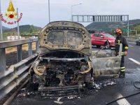 Auto in fiamme lungo l'autostrada A2 a Lagonegro. I Vigili del Fuoco evitano il peggio