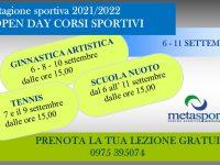 Alla Metasport di San Rufo a settembre lezioni gratuite di ginnastica artistica, tennis e scuola nuoto