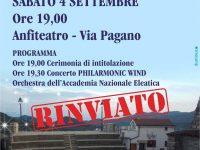 """Rinviata la cerimonia di intitolazione dell'Anfiteatro """"De Luca"""" a Torre Orsaia"""